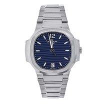 Patek Philippe Nautilus 35mm Ladies Stainless Steel Watch Blue...