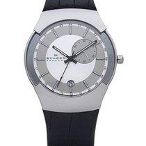 Skagen Mens Executive Black Label - Dual Time - Silver Dial -...