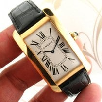 Cartier -Tank-Americaine-Large-Manual-Wind-18K-Yellow-Gold-Men...