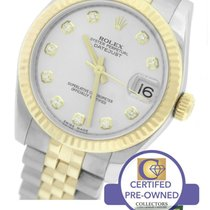 Rolex DateJust Mid-Size 31mm 178273 Silver Diamond Two-Tone Gold