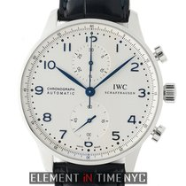 IWC Portuguese Collection Chronograph Steel Silver Dial Blue...