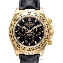 勞力士 (Rolex) Daytona Black 18k Yellow Gold/Black Leather 40mm -...