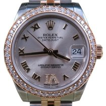 Rolex Datejust 178383 Ladies Midsize 31mm Silver Diamond VI...