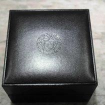 Versace watch box medusa logo black leather newoldstock complete