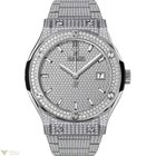 Hublot Classic Titanium Bracelet Full Pave Men's Watch
