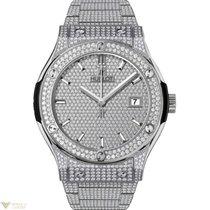 Hublot Classic Titanium Bracelet Full Pave Men's Watch