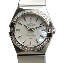 Omega Constellation Stainless Steel With Diamonds White Quartz...