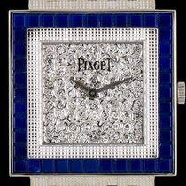 Piaget 18k W/G Pave Diamond Dial Lapis Lazuli Bezel Ladies...