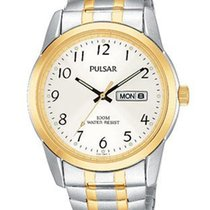Pulsar Mens Two-Tone Expansion Band Watch - Silver/White Dial...