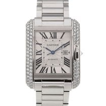 Cartier Tank Anglaise Silver Dial White Gold Diamond