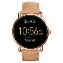 Fossil Smartwatch Q Wander Edelstahl IP rosé Lederband beige...