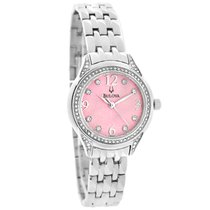 Bulova Ladies Crystal Pink Dial Stainless Steel Quartz Watch...