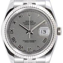 Rolex Datejust 36 116234 Dark Rhodium Roman Fluted White Gold...