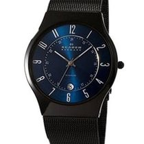 Skagen Mens Black Titanium Case and Adjustable Mesh Bracelet -...