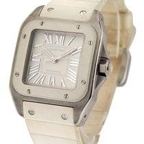 Cartier W20122U2 Santos 100 Ladys White - White Ceramic Bezel...