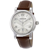 Montblanc Star Date Silver Dial Brown Leather Men's Watch