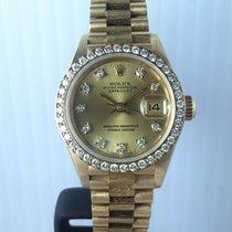 Rolex YG Lady Datejust Dia Dial/Bezel Bark Bracelet