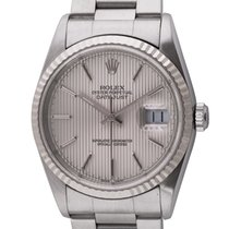 Rolex - Datejust : 16234 silver tapestry dial on heavy Oyster...