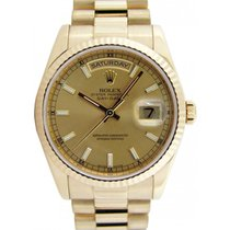 Rolex Day-Date 36 118238-GLDSFP Champagne Index Fluted Yellow...