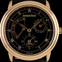 Audemars Piguet 18k Rose Gold Black Dial Dual Time Power...