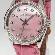 Rolex Oyster Perpetual Stainless Steel Pink MOP Diamond Ladies...