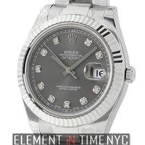 Rolex Datejust II Steel & White Gold Rhodium Diamond Dial ...