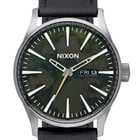 Nixon A105-2069 Sentry Leather Gunmetal Green Oxyde 42mm 10ATM