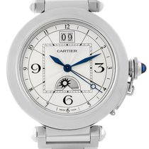 Cartier Pasha Big Date Moonphase Mens Watch W31093m7 Box Papers