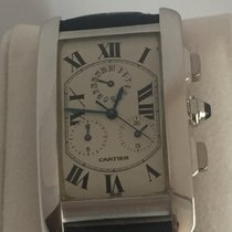 Cartier Tan  Americaine 18K White Gold Chronograph 2312