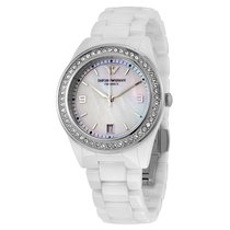 Armani Crystal Mother of Pearl Dial Ladies Watch AR1426
