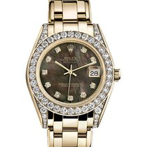 Rolex Pearlmaster 34 81158 Black Mother of Pearl Diamond Set...