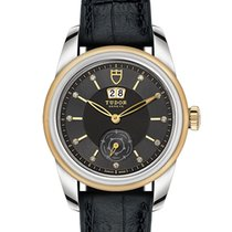 Tudor Glamour Double Date 42 Mm Black Leather Strap