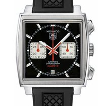 TAG Heuer MONACO CALIBRE 12 39mm  Black Dial, Rubber Strap