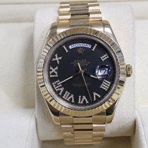 Rolex President Day Date II Yellow Gold Black  Roman Diamond Dial