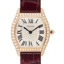 Cartier Tortue 18 K Rose Gold With Diamonds Silver Manual Wind...