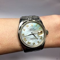Rolex Oyster Perpetual Datejust Ss Mens Watch W/ White Mother...