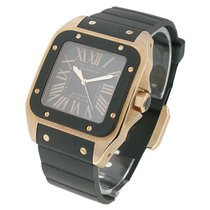 Cartier Santos 100 Large Size Rose Gold with Rubber Bezel