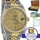 Rolex DateJust 18k Gold Steel 2 Tone Champagne 36mm 16233 Watch