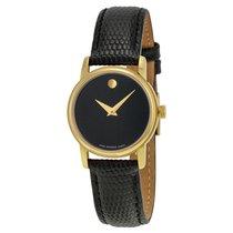 Movado Museum Black Dial Black Leather Ladies Watch 2100006