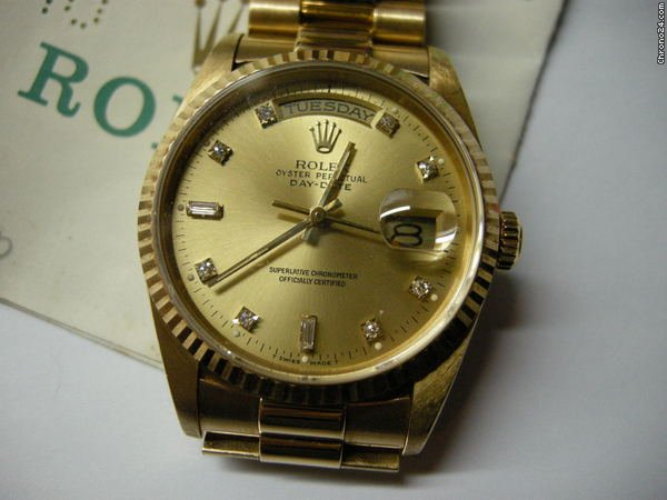 Rolex President 18238 DATE-DAY 18K Diamond Gold Dial with PAPER