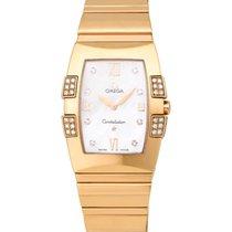 Omega Constellation Quadrella 18K R/G Diamond Ladies Watch –...