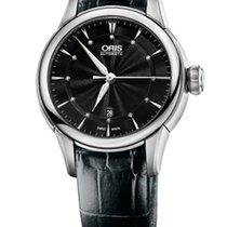 Oris Artelier Date Diamonds Black Dial and Leather Bracelet
