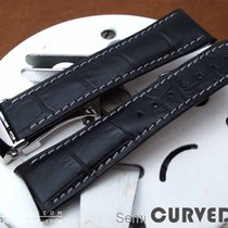 Strapcode Black CrocoCalf Semi-Curved Watch Strap, Grey st