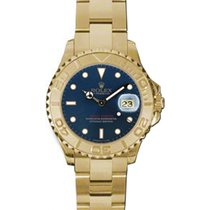 Rolex Yacht-Master 29 169628-BLU Blue White Dial Yellow Gold...