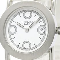 Hermès Polished Hermes Barenia Rondo Steel Leather Quartz...