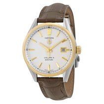 TAG Heuer Carrera Calibre 5 Silver Dial Brown Leather Men'...
