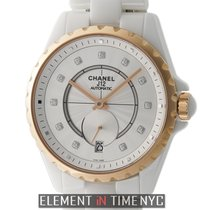 Chanel J12 Ceramic & 18k Rose Gold 37mm White Diamond Dial...