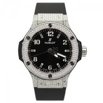 Hublot Big Bang 38 Stainless Steel Pave Diamonds Black Strap