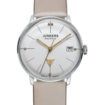 Junkers Bauhaus Lady Swiss Quartz Watch Leather Strap Swarovsk...