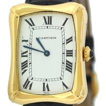 Cartier Paris Large Bamboo Tank Coussin 18k Yellow Gold Black...